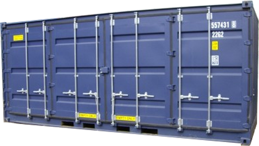 A cut out image of K&K Containers, a MD, VA, WV, and DC custom shipping/storage container company's blue shipping/storage container on a white background.