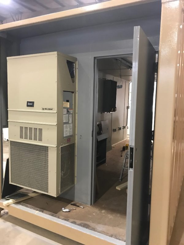 Bard Style HVAC Installed Recessed Within the Footprint of a 40' Container