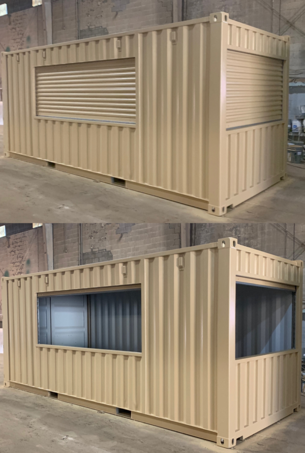 Custom Vending Container with Hand Operated Roll Up Doors. Similar to a Store Front Roll Up Door.